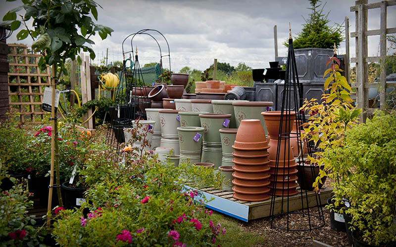 Plant pots stacked for sale