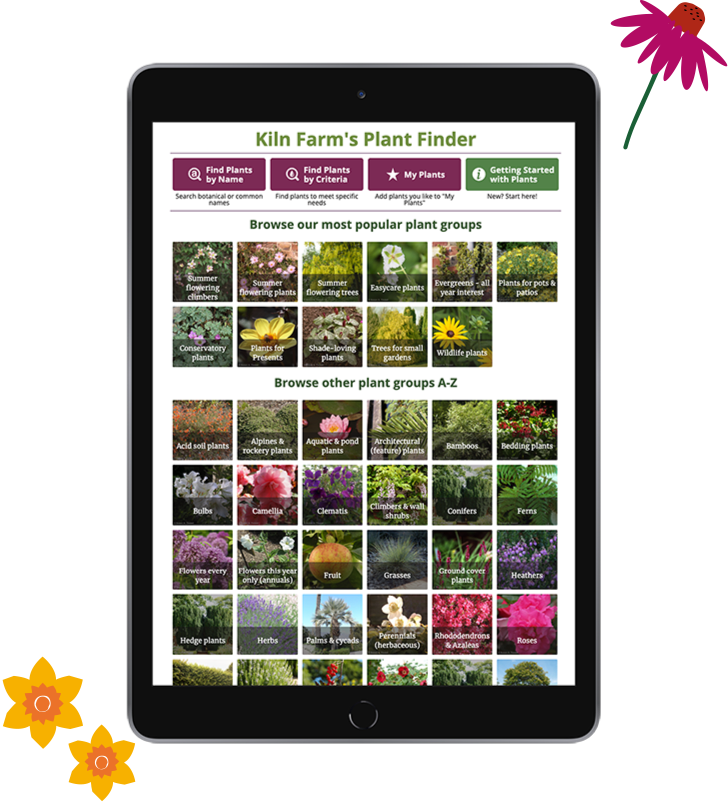 iPad showing plant finder website page